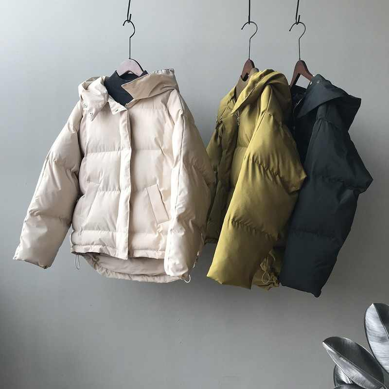 Winter new hooded short women's cotton clothing Korean version down cotton clothing girls winter fashion simple casual warm coat