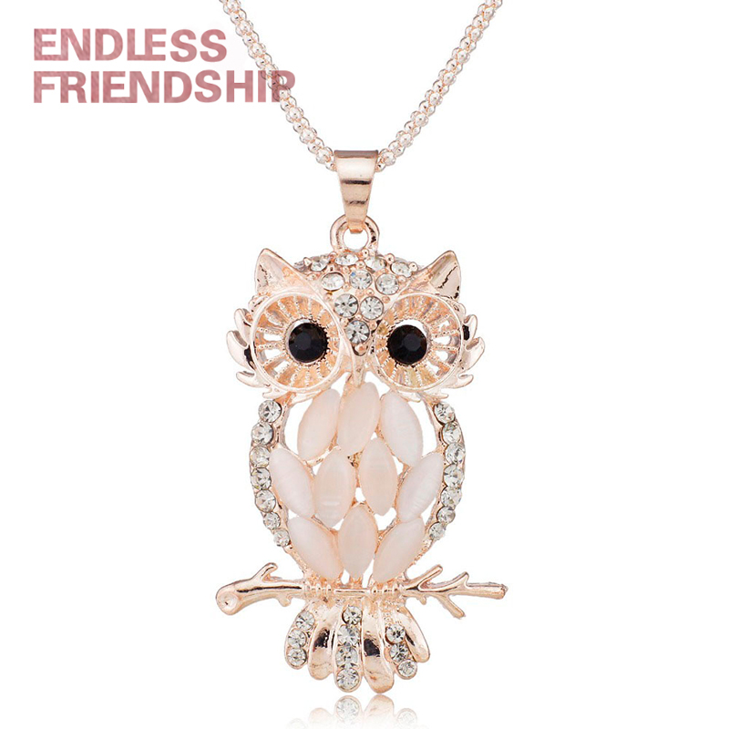 Crystal Necklaces Charming Pendants Wedding-Jewelry-Accessories Sparkling Owl Women Stylish