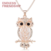 Stylish Charming Sparkling Owl Crystal Necklaces & Pendants Necklace for Women Wedding Jewelry Accessories stylish rhinestoned fake crystal oval necklace for women