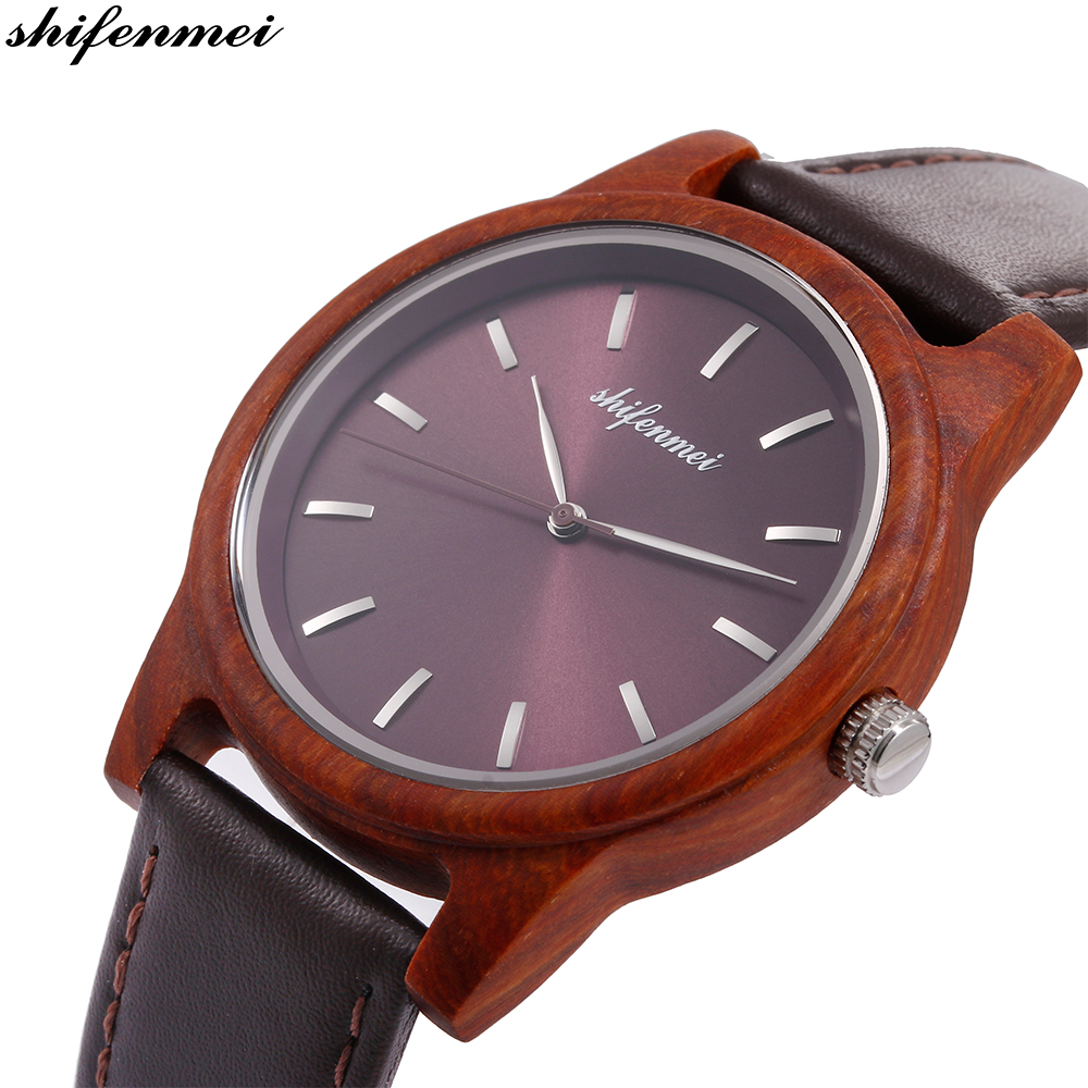Shifenmei S5551 Engraved Women Watches Hand Wood Quartz Watch Leather Stainless Steel Bracelet Wristband Relogio Masculino