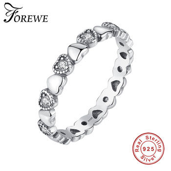 Authentic 100% 925 Sterling Silver Stackable Heart Finger Rings for Women Silver Wedding Engagement Crystal Ring Fashion Jewelry