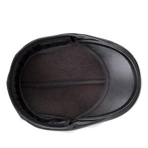 Image 3 - 新デザイン男性 100% 本革のファッション野球キャップ/キャスケットベレー帽/タクシー運転手の帽子/ゴルフ帽子フラット男性スライド高品質 HL041