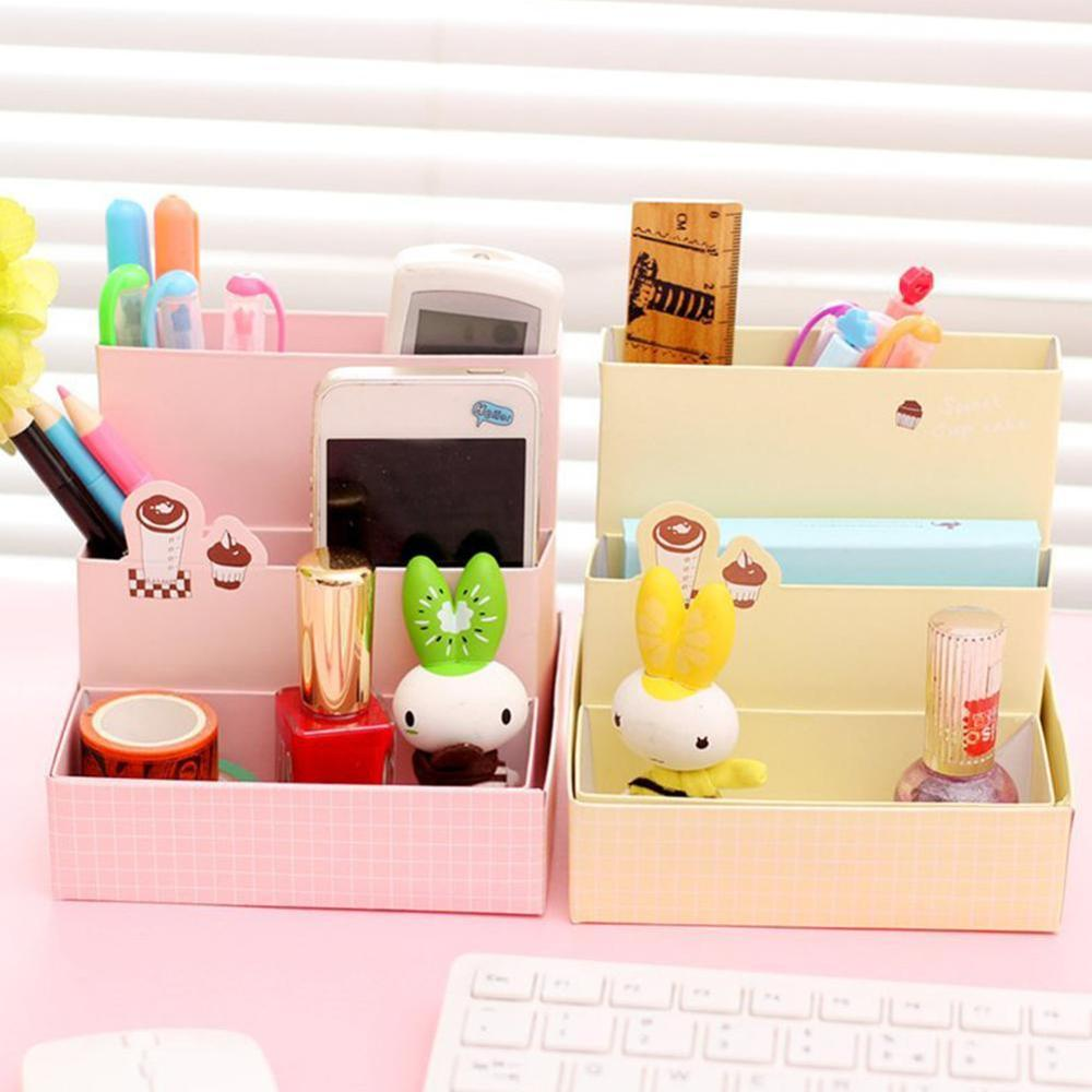 DIY Paper Board Storage Boxes Bins Office Organizer Desk Makeup Cosmetic Case School Stationery Tools