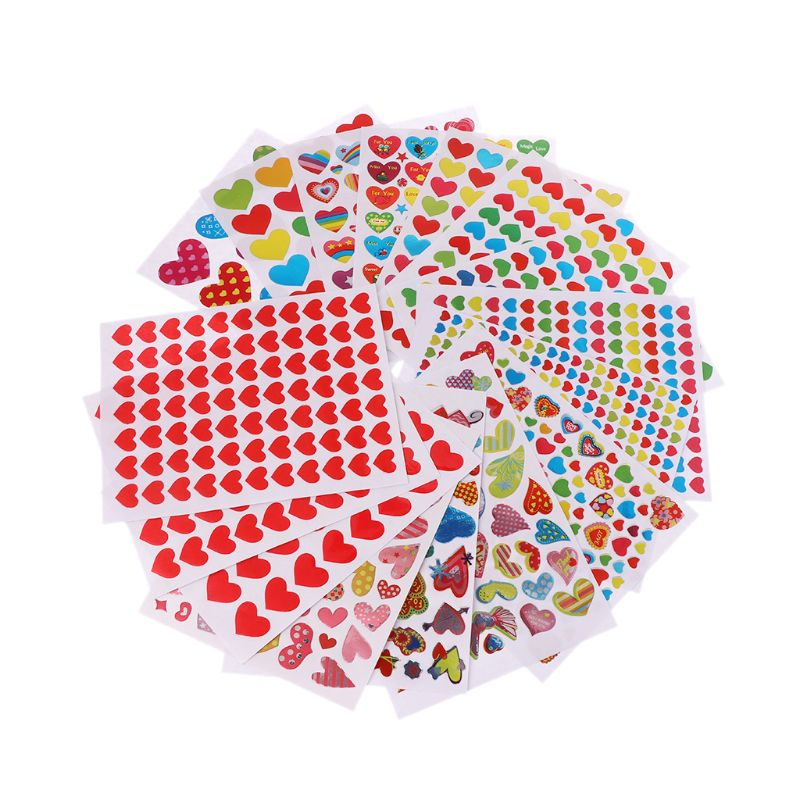 10 Sheets Heart Stickers Love Decorative Sticker Kids Envelopes Cards Craft Scrapbooking Party Favors Prize Class Rewards Award