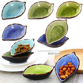 4 szt Wzór liści talerze ceramiczne talerze octu sos sojowy talerze przyprawy talerze przekąski tanie i dobre opinie Czosnek keepers Zioła i przyprawy narzędzia Ekologiczne Zaopatrzony