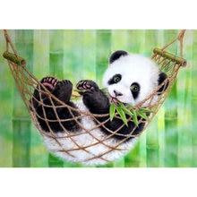 5d алмазная живопись панда зеленый бамбук круглая полная картина