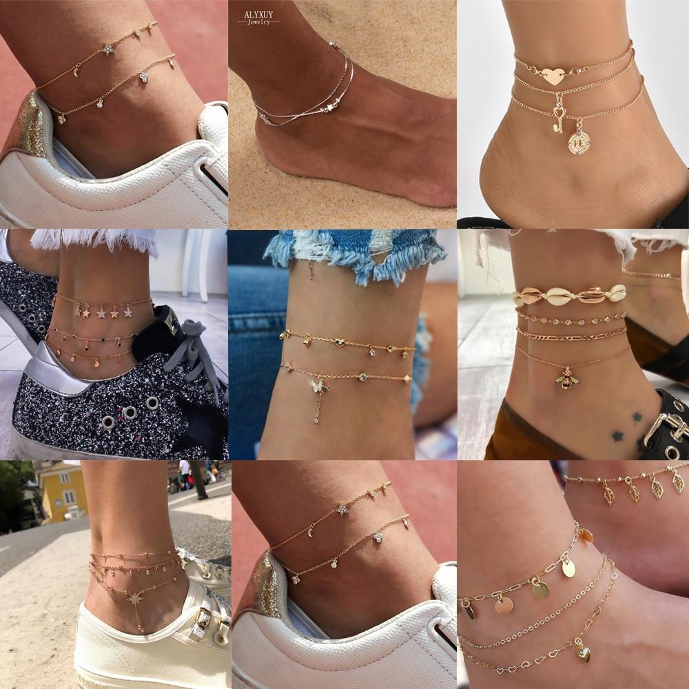 ALYXUY 9 Styles Bohemian Beads Star Anklets For Women Shiny Crystal Heart Anklet Charm Bracelets On Leg Beach Jewelry 2019 New