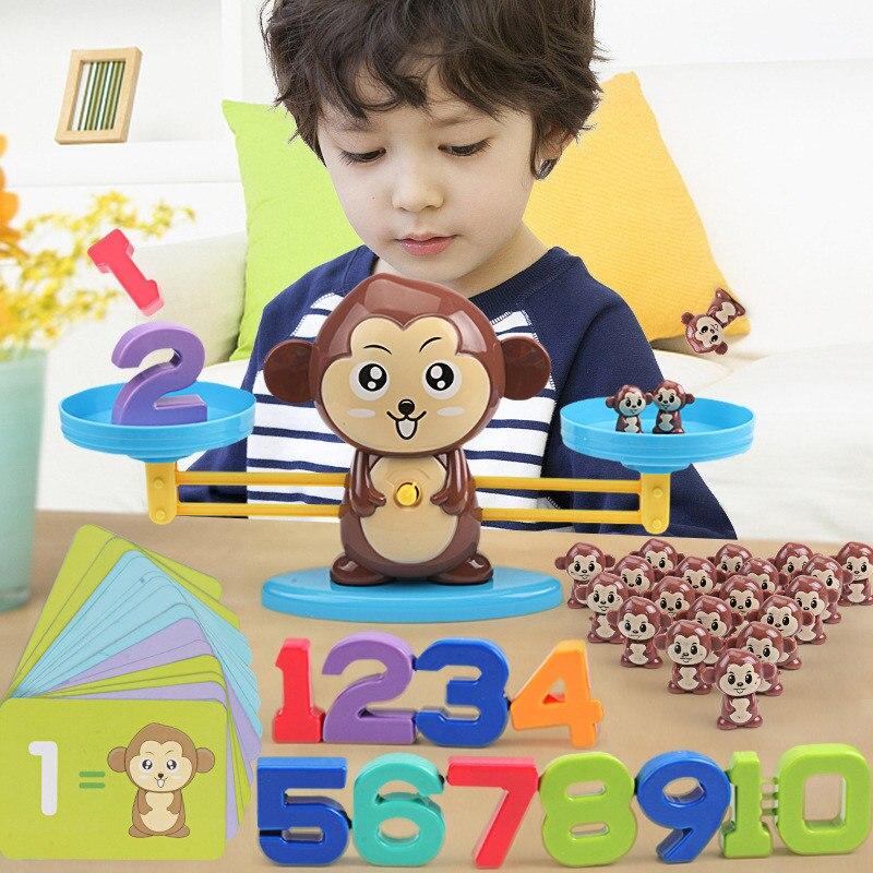 Обезьяна Цифровой баланс весы игрушки весы и обучения детей баланс Математика раннее вычитание образование дополнение цифровой