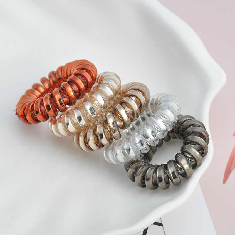 3Pcs Useful  Elastic Hair Bands Girls Hair Accessories Rubber Band Headwear Hair Rope Spiral Shape Hair Ties Gum Telephone Wire