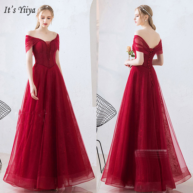 It's Yiiya Evening Dress Off Shoulder Plus Size Short Sleeve Women Party Dresses Boat Neck Floor-Length Robe De Soiree V078