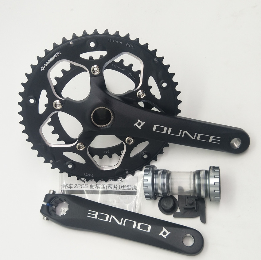 RS-H002 Road Bike Aluminum Alloy Crankset Bicycle Fixed Gear Hollow Crank 170mm <font><b>110BCD</b></font> CNC Chainwheel 34-<font><b>50T</b></font> Bottom Bracket image