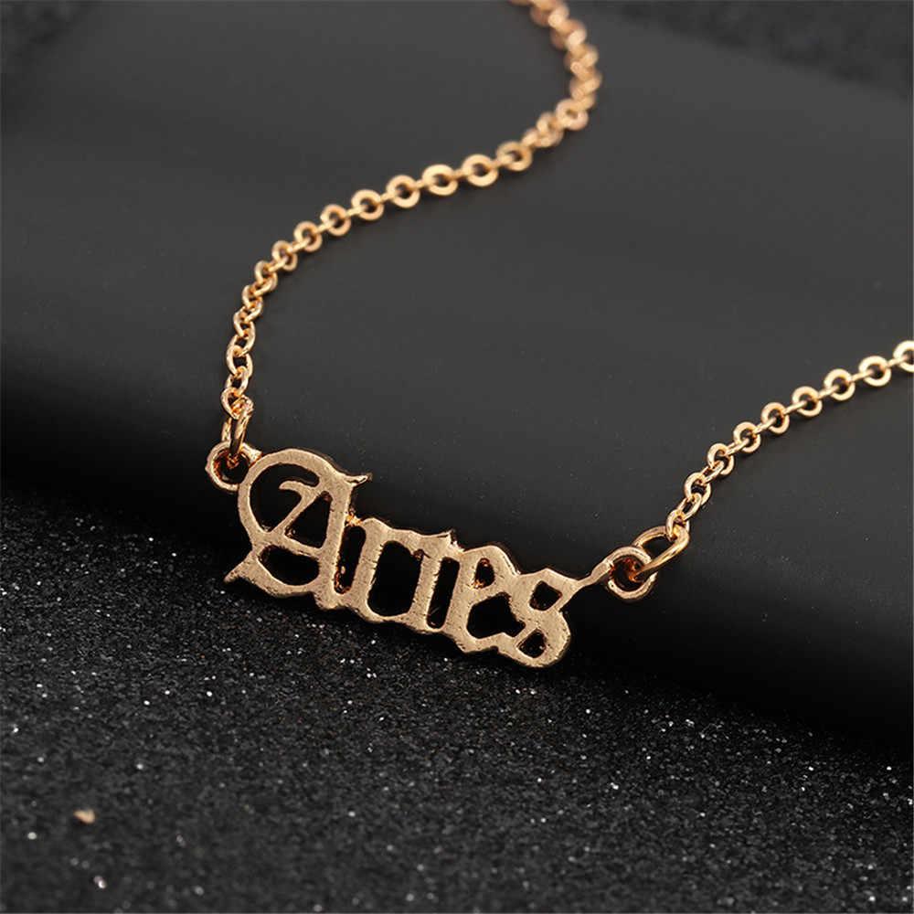 MLING Vintage altın alaşım kolye kolye basit harfler oniki takımyıldızları kolye kolye kadınlar için