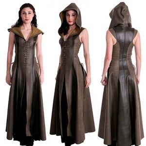 Image 4 - Kobiety moda Sexy Slim zasznurować skórzane średniowieczne Ranger długa sukienka dorosłych płaszcze Cosplay disfraz mujer kostium Halloween