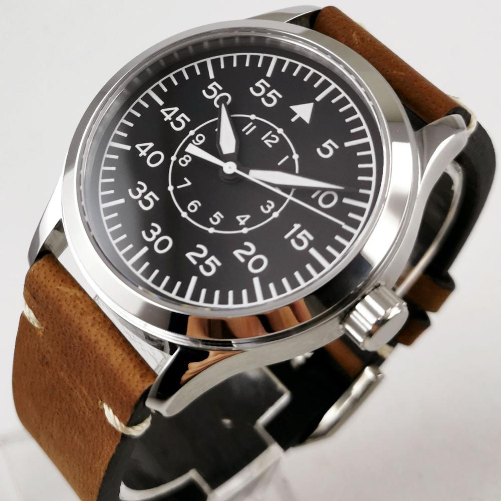 Luxury Brand 44mm Parnis Black Dial Solid Case Stop Watch Full Chronograph Full Steel Waterproof Quartz Mens Watch