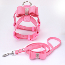 Adjustable Hot Drilling Bow Pet Chest Strap Cat Leash Rope Set Small Dog Collar Back Supplies