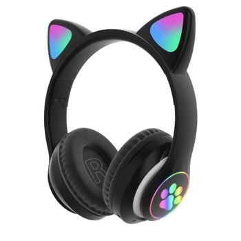 Flash Light Cute Cat Ears Bluetooth Wireless Headphone with Mic Can control LED Kid Girl Stereo Music Helmet Phone Headset Gift 10