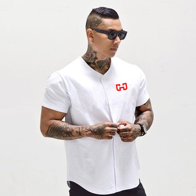 Mens T-shirts Casual Loose Gyms Clothing Men T-shirts Fitness Bodybuilding  Muscle T Shirt Mens Cotton Casual T-shirts Summer
