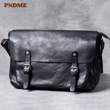 Pndme Повседневная роскошная мужская сумка мессенджер из натуральной