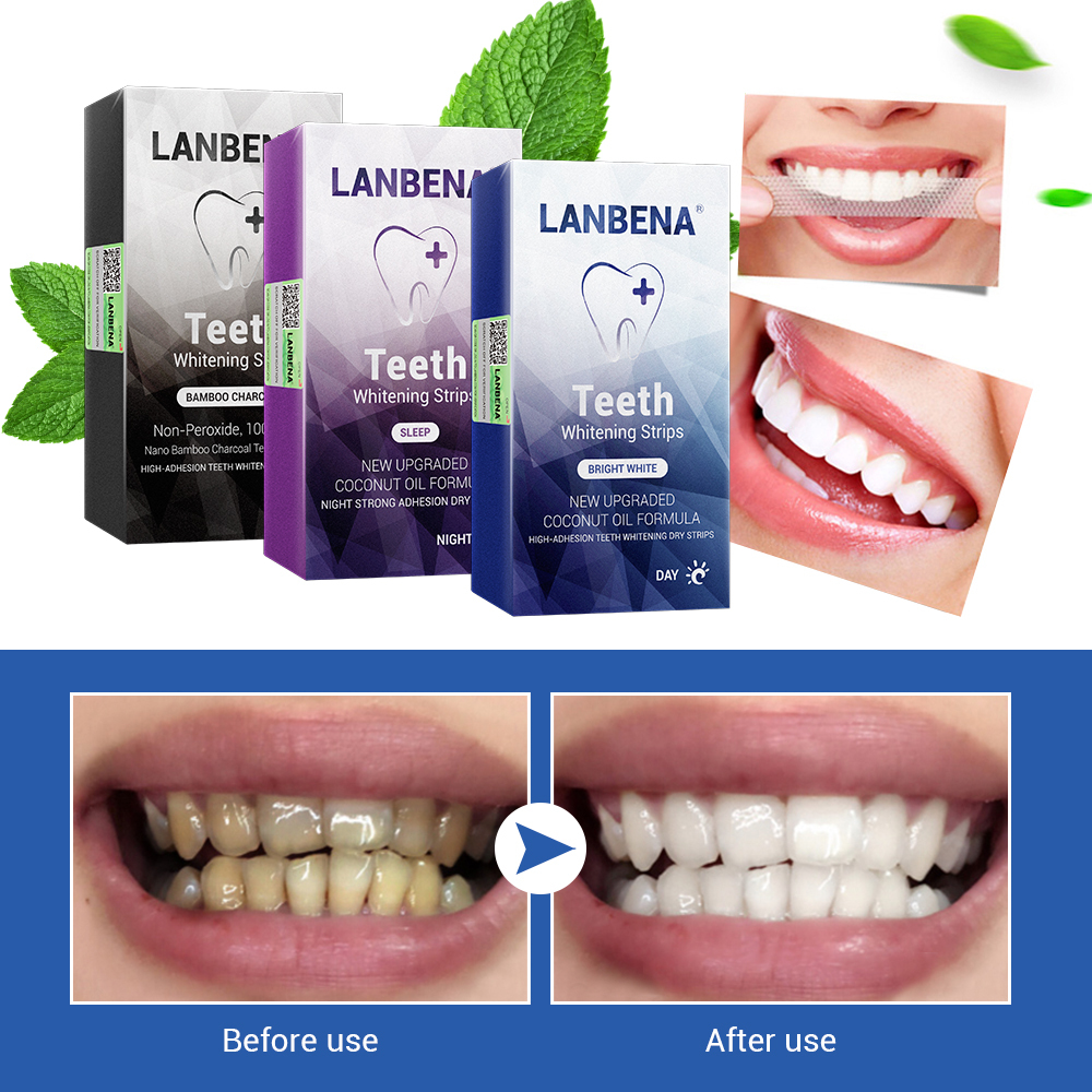 LANBENA Teeth Whitening Strips Oral Hygiene Dental Tools Teeth Veneers White Strips Removes Plaque Stains Tooth Bleaching 7 Pair