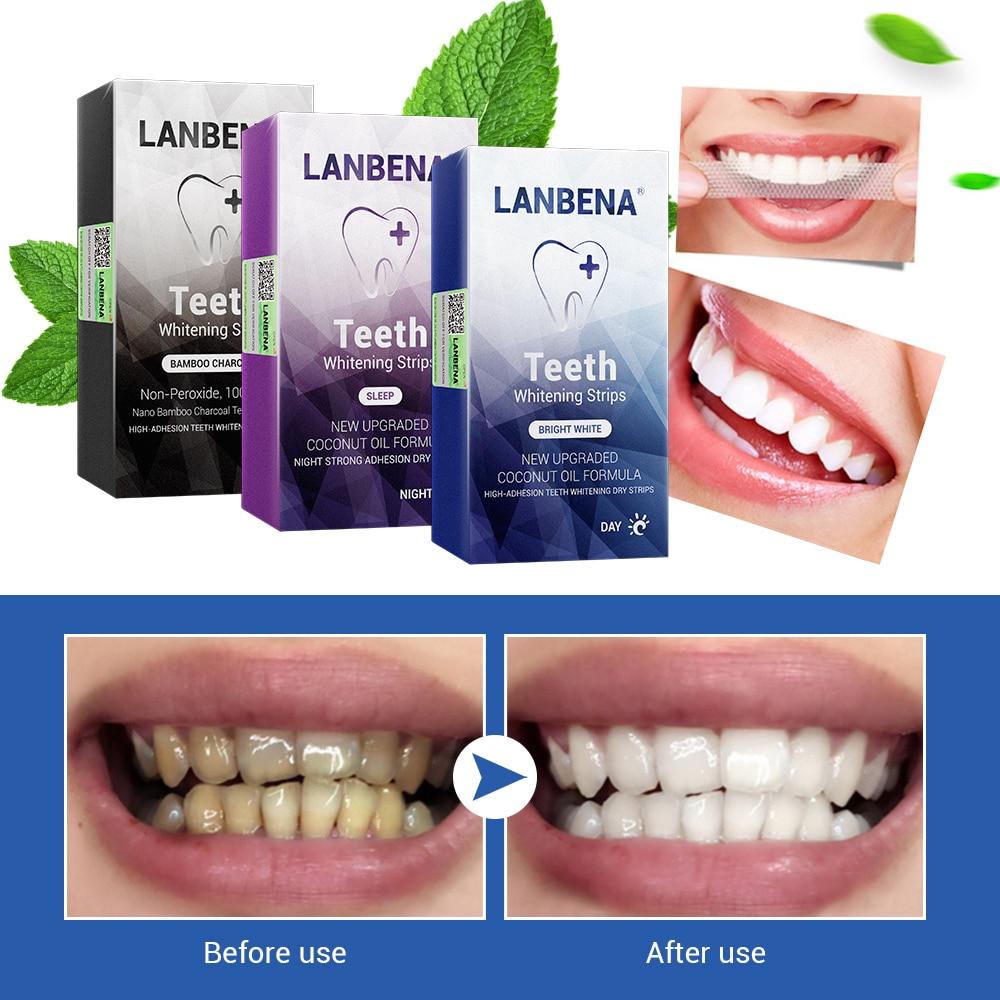 LANBENA Teeth Whitening Strips Oral Hygiene Dental Tools Teeth Veneers White Strips Removes Plaque Stains Tooth Bleaching 7 Pair