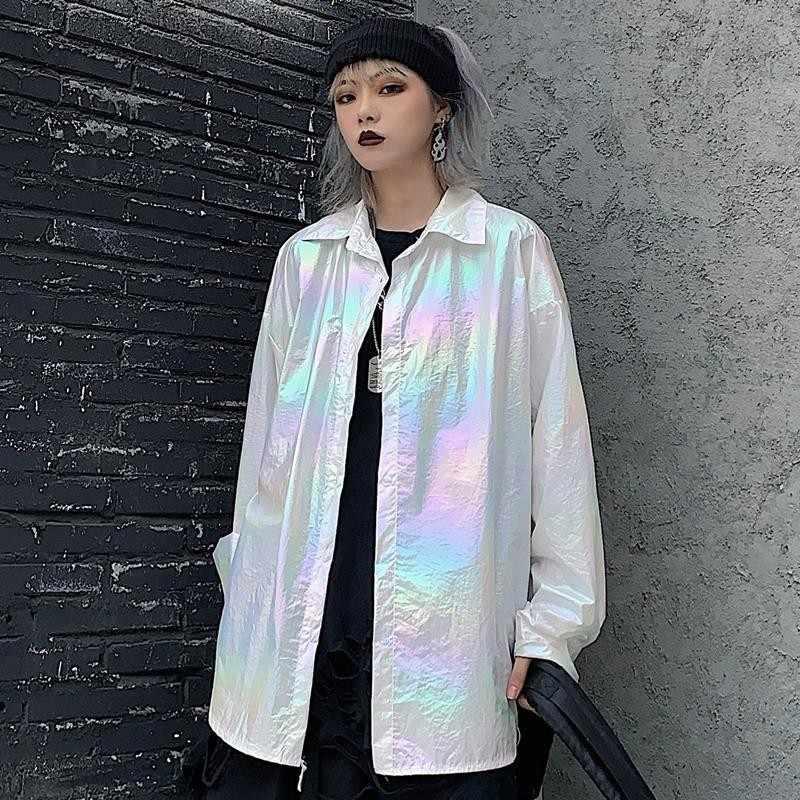 2020 Nieuwe Transparante Laser Symfonie Zonnebrandcrème Pocket Jersey Jas Clear Jas Iriserende Regenboog Hologram Shirt Blouse Jas