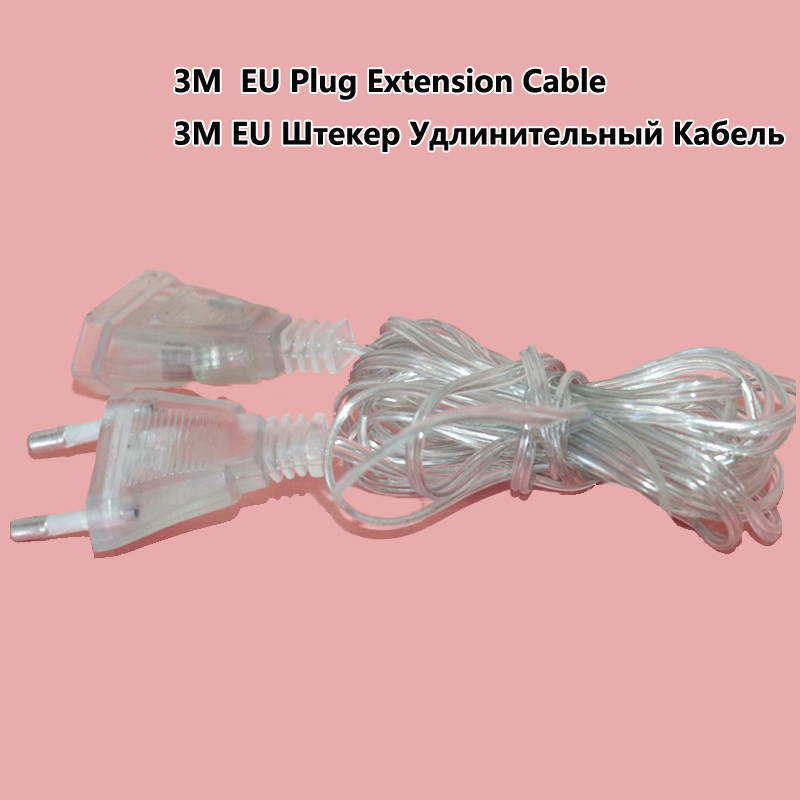 3M EU US Plug Extender Wire Extension Cable String For Curtain Icicle Mesh String Light Outdoor Extend For Wedding Party Decor