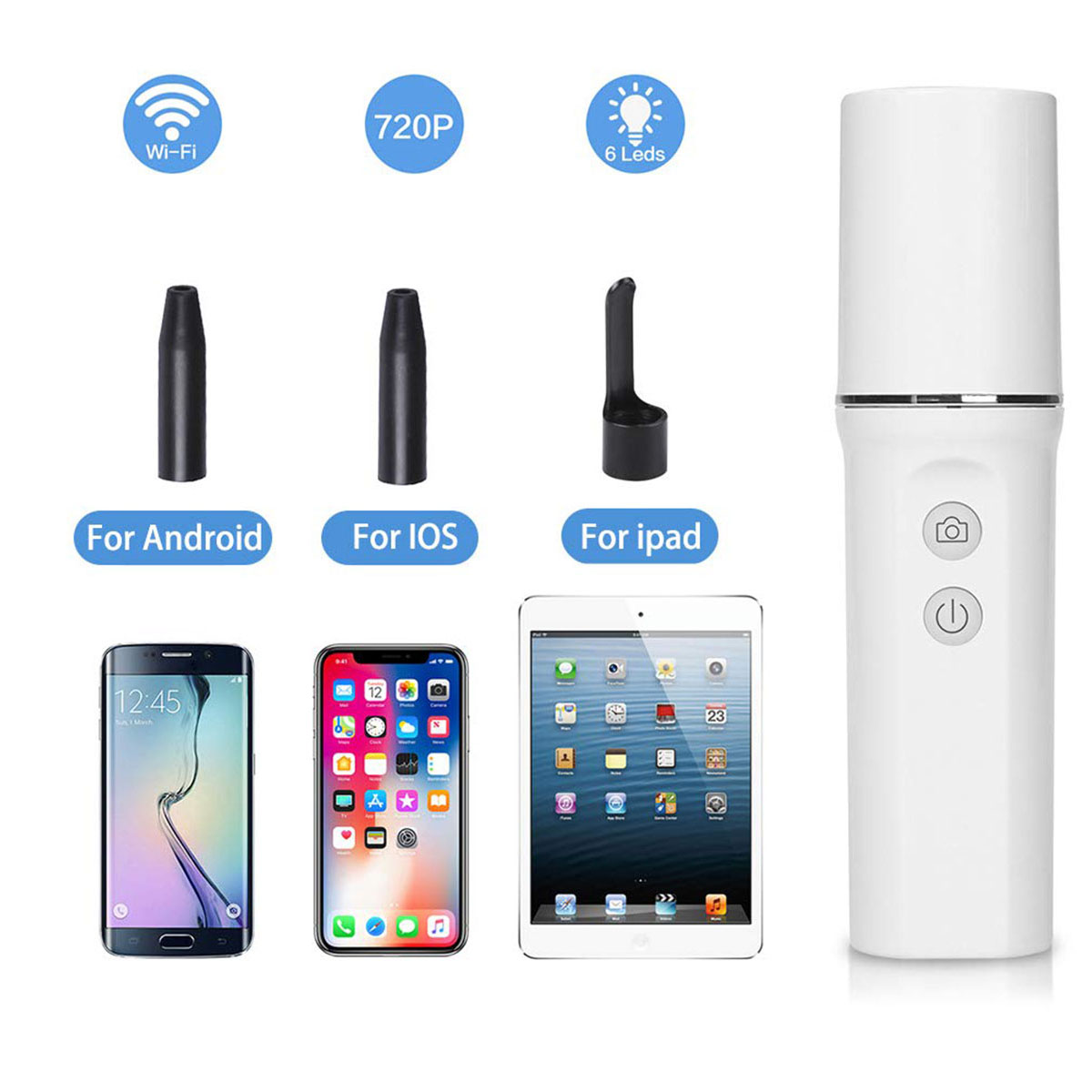 WiFi Ear Otoscope Wireless HD720P Digital Endoscope Ear Inspection Camera Earwax Cleaning Tool with 6 Led for IOS & Android Use