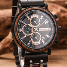 Watch Men montre BOBO BIRD Wood Watch Men Chronograph Military Watches Luxury Stylish Dropshipping with Wooden Box reloj hombre