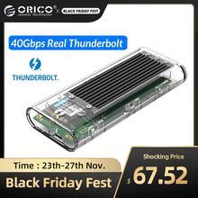 ORICO Thunderbolt 3 40Gbps M.2 NVME SSD מארז 2TB שקוף USB C SSD מקרה עם 40Gbps C כדי C כבל עבור Mac Windows