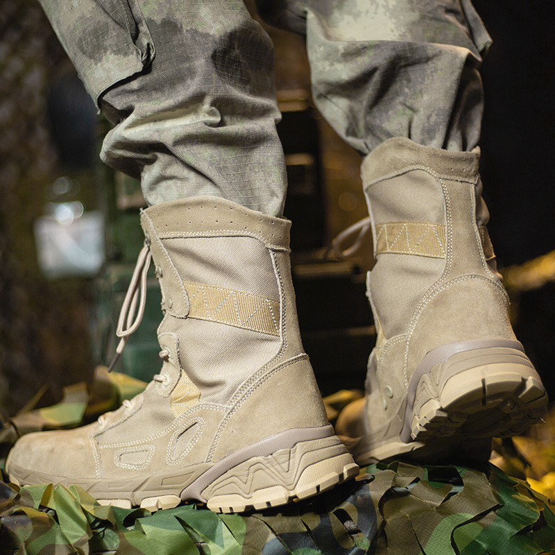 Male Army Military Boots Beige Green Desert Comfortable Trekking Men Hard-Wearing Wearable Outdoor Shoes