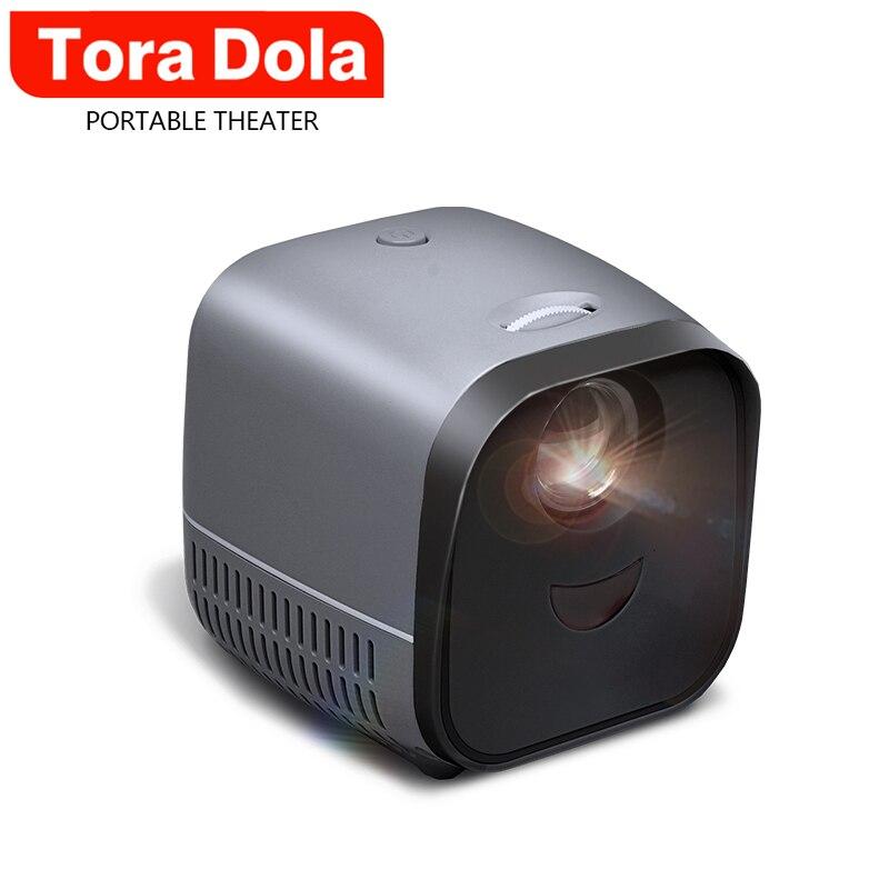 Tora dola mini projetor portátil l1 1080p vídeo suporte 3d filme para cinema em casa hd nativo 480*320p presentes pai-filho-0
