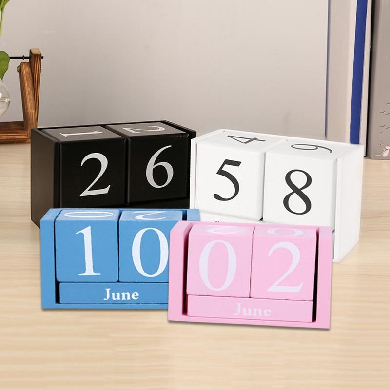 Vintage Wooden Perpetual Desk Calendar Block Planner Permanent Desktop Organizer DIY Agenda EM88