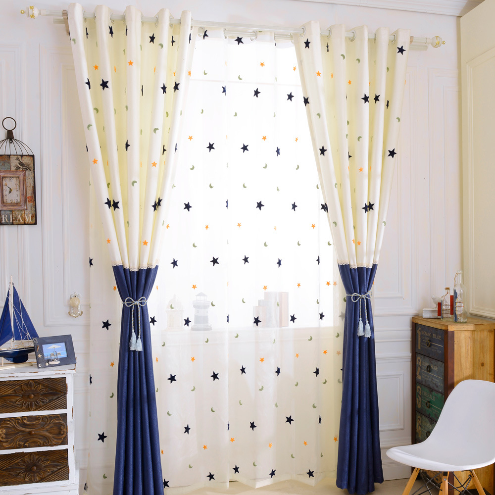 Modern Cartoon Stars Moon Embroidered Curtains Lace Stitching Curtains For Living Room Bedroom Kid's Room Embroidered Tulle307#4