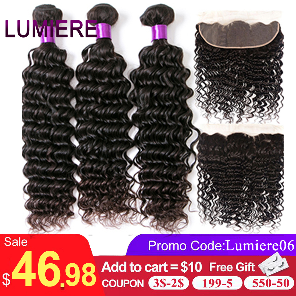 Lumiere Hair Deep Wave Bundles With Frontal Brazilian Hair Weave 3 Bundles With 13x4 Lace Frontal Remy 100% Human Hair Color 1B