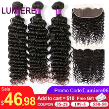 Lumiere saç derin dalga demetleri ile Frontal brezilyalı saç örgü 3 demetleri ile 13x4 dantel Frontal Remy 100% insan saç rengi 1B