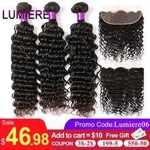 ומייר שיער עמוק גל חבילות עם פרונטאלית ברזילאי שיער Weave 3 חבילות עם 13x4 תחרה פרונטאלית רמי 100% שיער טבעי צבע 1B