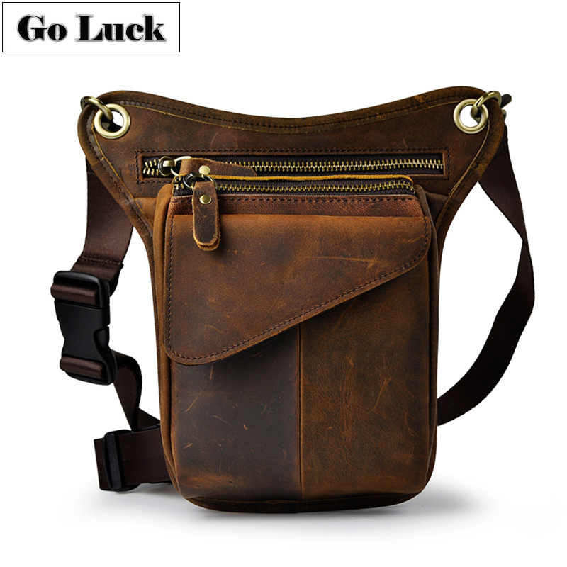 Genuine Leather Casual Multi-function Men's Leg Thigh Waist Gun Pack Tool Kit Organizer Shoulder Cossbody Bags Cell Phone Case