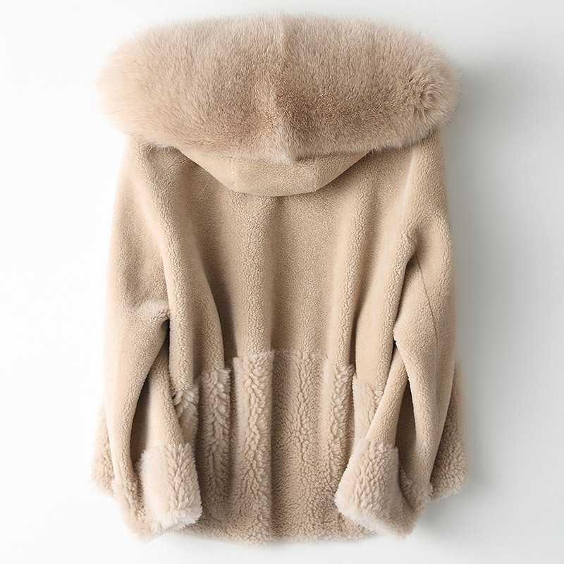 Fur Real Coat Female Fox Fur Collar 100% Wool Coats Winter Jacket Women Sheep Shearling Fur Jackets Korean Outwear MY S S