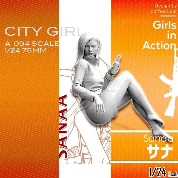 1/24 Resin Kits  Beautiful Girl Resin Model Self-assembled  A-94