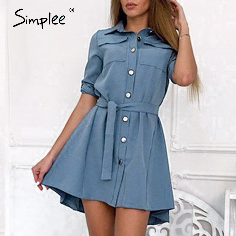 Simplee Elegant Office Women Shirt Dresses Casual Solid A Line Female Buttons Summer Dress Daily Work Wear Ladies Short Sundress