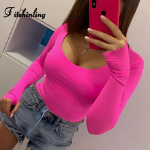 Fitshinling 2019 Long Sleeve Bodysuit Women Clothing Solid Slim Sexy Body Mujer Autumn Hot Sale Bodysuits Basic Jumpsuit