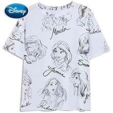Princesa de Disney camiseta nieve blanco Cenicienta Ariel Belle de impresión de dibujos animados de las mujeres Camiseta de manga corta cuello de algodón Tee tapas de mujer