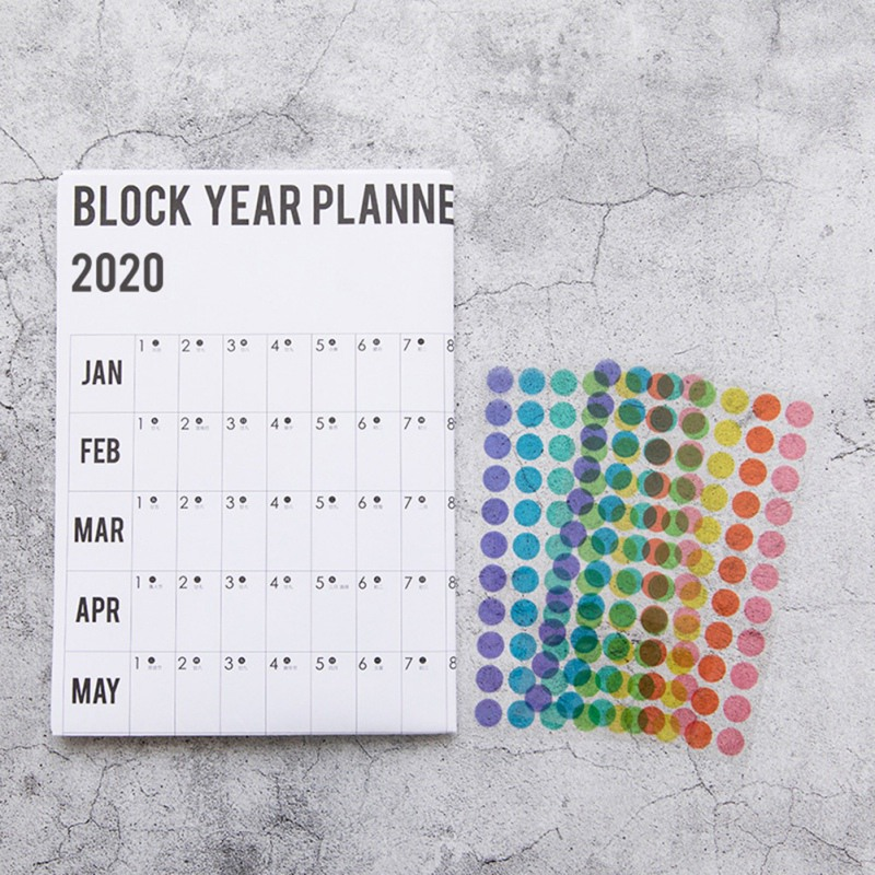 2020 Block Year Planner Daily Plan Paper Wall Calendar With 2 Sheet EVA Mark Stickers For Office School Home Wall Calendar