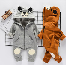 цены на Autumn Cartoon Bear Hooded Romper For Newborn Infant Baby Boy Girl Kid Clothes Outfit 3D Ear Jumpsuit Playsuit Sets 0-24M в интернет-магазинах