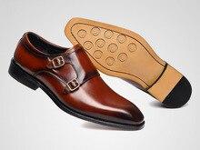 QYFCIOUFU Men Genuine Leather Double Monk Strap Shoes Men Classic Men Dress Shoes Luxury Italian Brand Formal Shoes Men Oxford