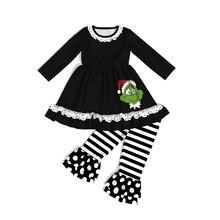 CONICE NINI, брендовая Рождественская одежда для маленьких девочек, штаны в полоску, топ с вышивкой, детские штаны с оборками, одежда для маленьких девочек