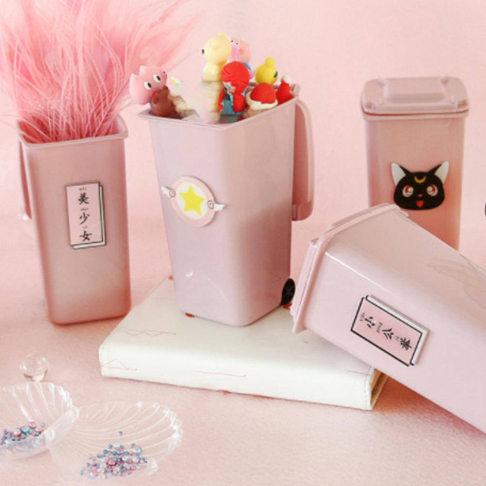 Desktop Multifunction Plastic Creative Trash Can Pen Pencil Holder Home Office Container Desk Office Accessories Pen Stand