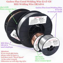 שטף Cored Gasless ריתוך חוט E71T GS אין גז או MIG ריתוך חוט ER70S 6 0.6/0.8/0.9mm 1kg פלדת ריתוך חומר