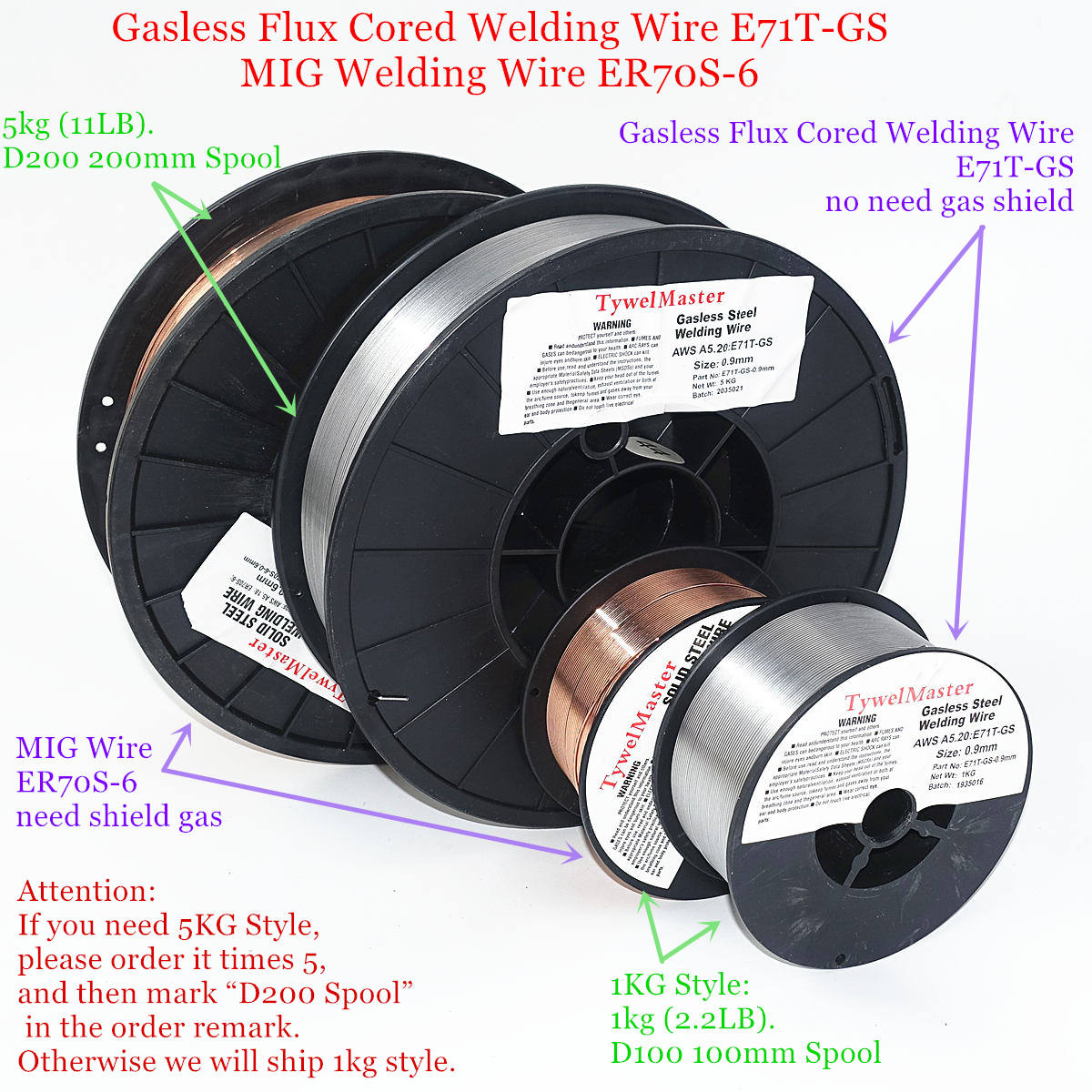 Flux Cored Gasless Welding Wire E71T-GS No Gas Or MIG Welding Wire ER70S-6 0.6/0.8/0.9mm 1kg Steel Welding Material