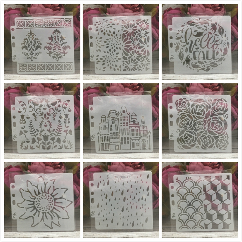 9Pcs/Set 14*13cm Rose Flower Building Words DIY Layering Stencils Painting Scrapbook Coloring Embossing Decorative Template